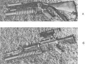Рис. 2. 40-мм гранатометы компании «Кольт»: а - М203 (в обычном снаряжении); б - перспективный вариант 40-мм гранатомета ЕМ203 с электронно-оптическим прицелом